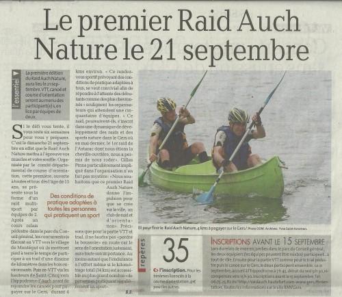 Raid Auch Nature à la Une de La Dépêche du Midi le 26 août (1).jpg